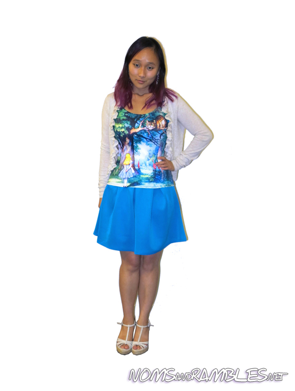 TANK TOP: Converted from Cheshire Cat Swimsuit by Black Milk Clothing, $90 SKIRT: Katie Box Pleat Skater Skirt in Turquoise by Boohoo, $20 CARDI: Ruffle cardi sweater in blonde-heather by Victoria's Secret, $29.50 USD; SHOES: T-strap Espadrille Wedge by Colin Stuart, $29 USD