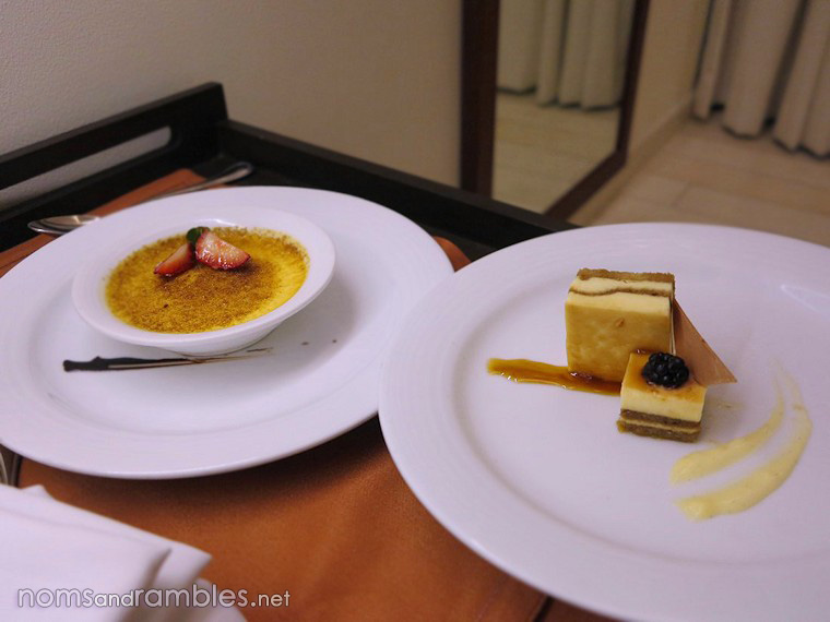 Room service: crème brûlée and tiramisu delivered to the suite