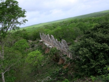 View of House of the Doves from the Great Pyramid of Uxmal