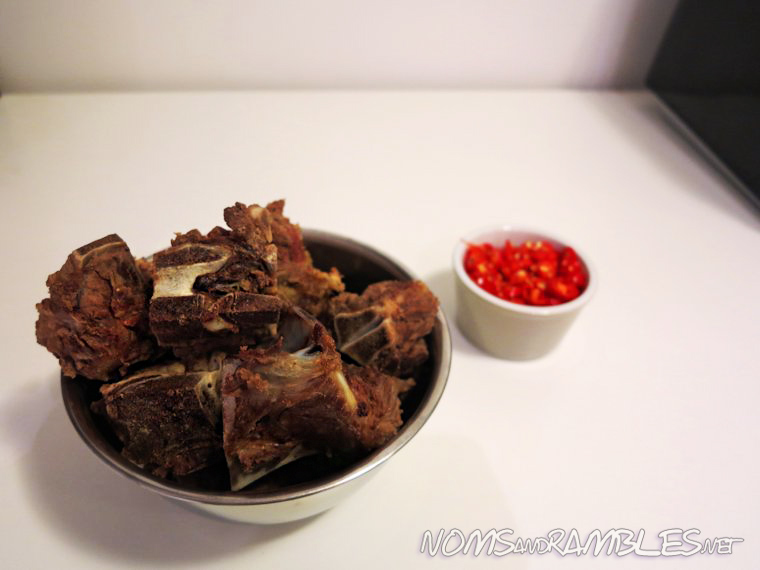 Beef bones and chopped chillies