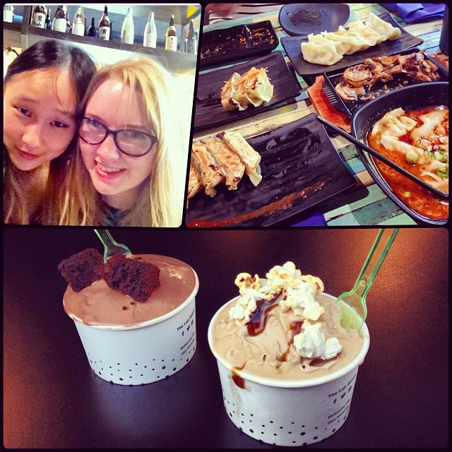 DAY 8 - #100happydays #100happydaysday8 #day8 #ladydate with @c0uc0u #nomming #gyoza  and #liquidnitrogen #gelato ! #japanesefood #japanese #dumplings #soup  #foodporn #spicy #miso #mushroom #teppanyaki #gyozadouraku #wiat #instafood  #fooddiaries #popcorn #saltedcaramel #chocolatebrownie #thelab #100happyindienomdays