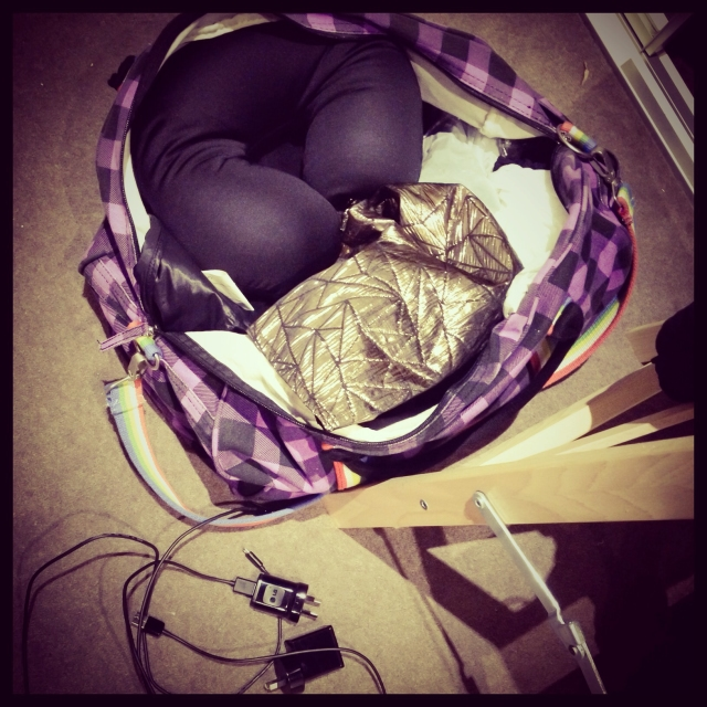 DAY 11 - #100happydays #100happydaysday11 #day11 #packing for a #weekend in #Sydney  #trip #holiday #flight #luggage #bag #Sportsgirl #duffel #plaid #purple  #travelpillow #clothes #100happyindienomdays
