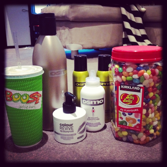 DAY 32 - #100happydays #100happydaysday32 #day32 the #littlethings that make me happy!  Getting #deliveries of my favourite #haircare range and a bucket of  #jellybelly for my #birthday #party and the boy bring me a big #boost  #smoothie ! #boostjuice #osmo #parcel #candy #dryshampoo #shampoo  #colourrevive #blonde #silverising #mangopassion #mango #juice #100happyindienomdays