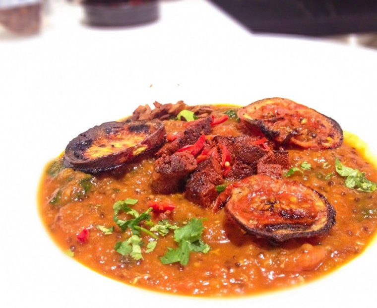 Smokey roasted tomato and butternut soup with red quinoa and vegan chorizo