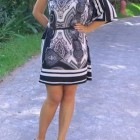 Asymetrical Scarf Print Dress