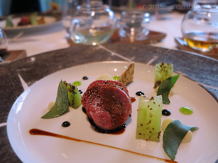 Saltbush lamb saddle, caviar oil, cucumber and caraway
